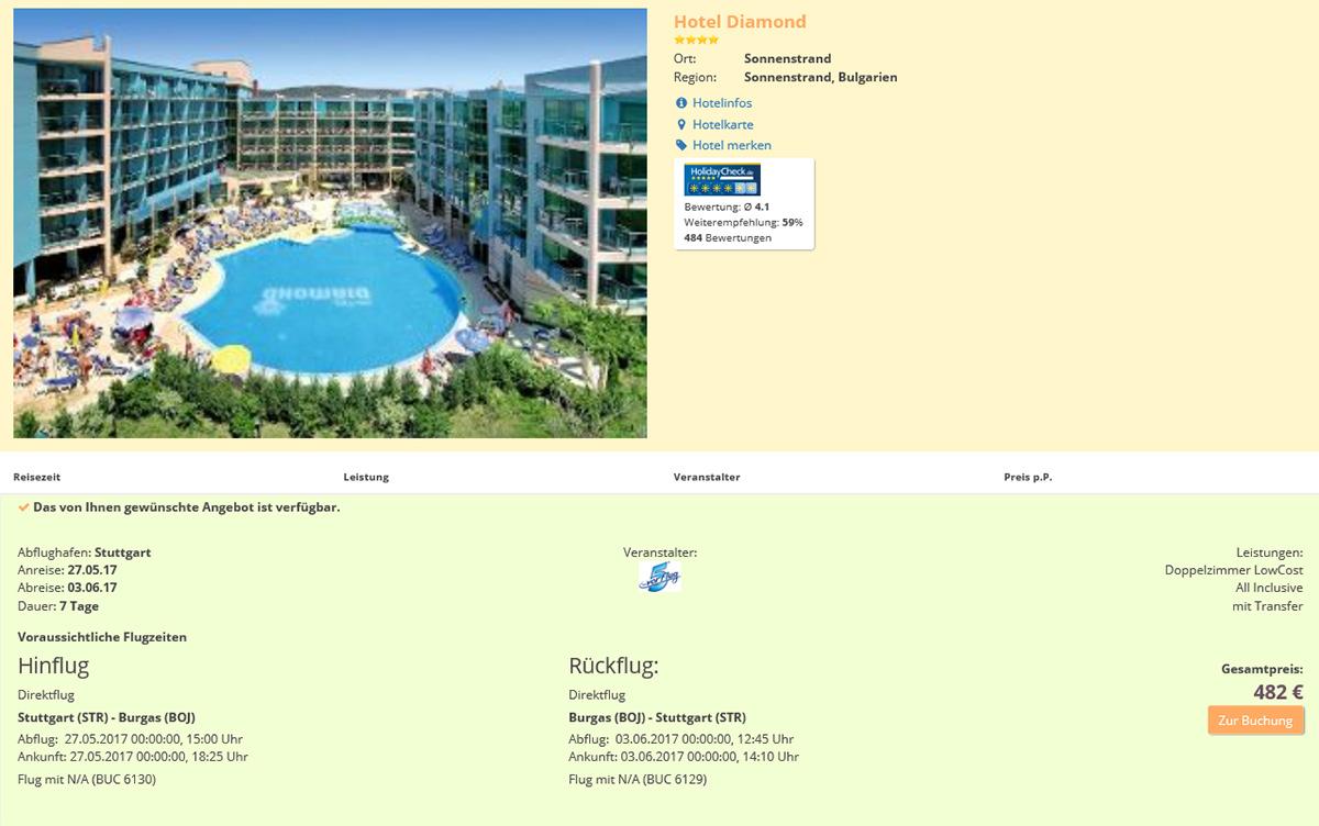 Reiseangebot Hotel Diamond/Bulgarien – Screenshot (18.05.2017, 13.00)
