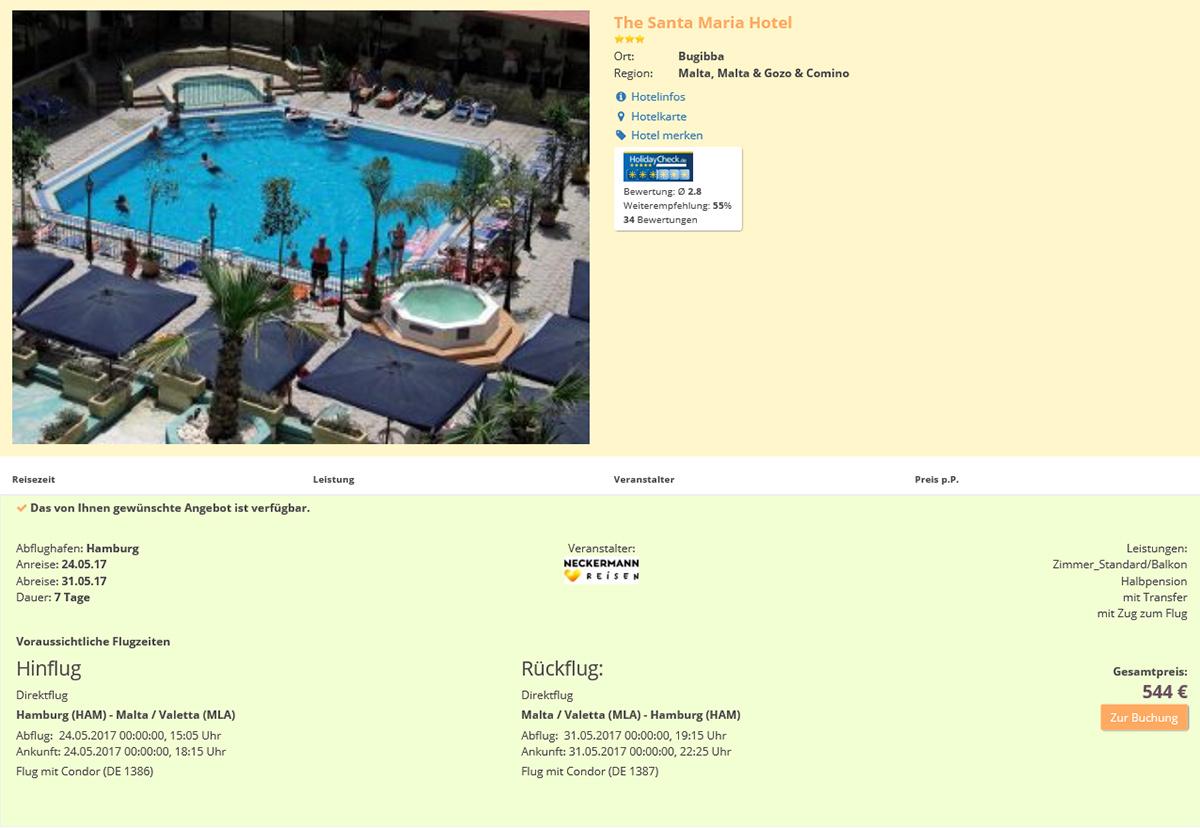 Reiseangebot Hotel Santa Maria/Malta – Screenshot (15.05.2017, 10.00)